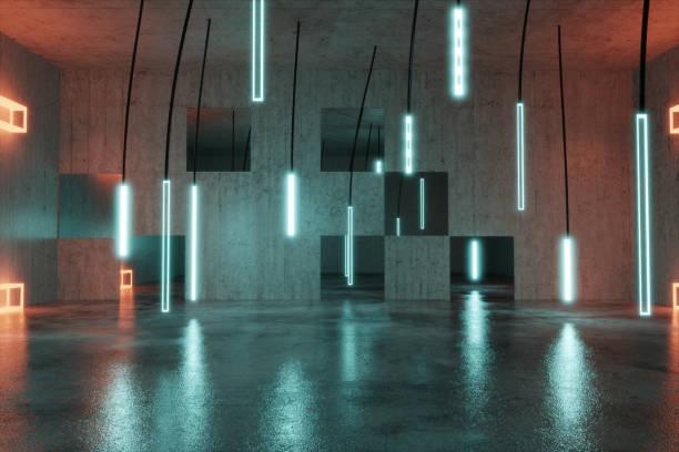 구체적인 배경 조명된 매달려 led 패널의 3d 렌더링 - 반사 빛의 작용 뉴스 사진 이미지