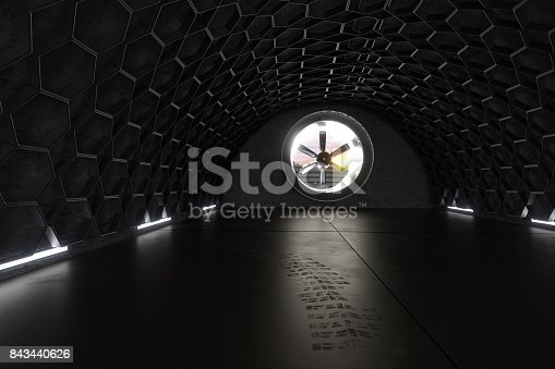 istock 3d rendering of concrete garage with hexagon pattern 843440626
