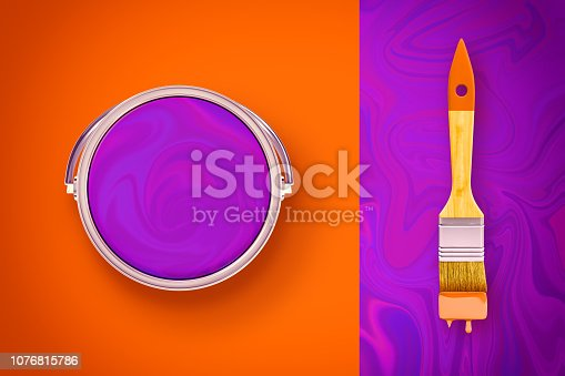 istock 3d rendering of contrast orange and liquid-purple background with a paint bucket and a brush lying on differently colored sides. 1076815786