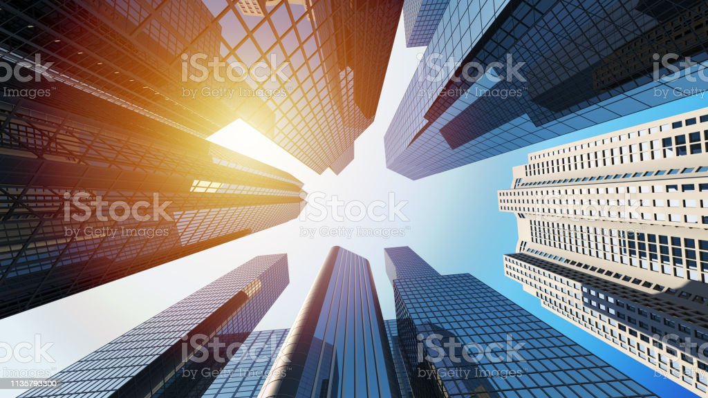 3d rendering of corporate buildings with sunlight royalty-free stock photo