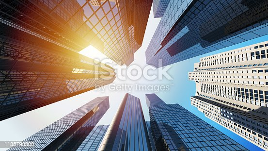 istock 3d rendering of corporate buildings with sunlight 1135793300