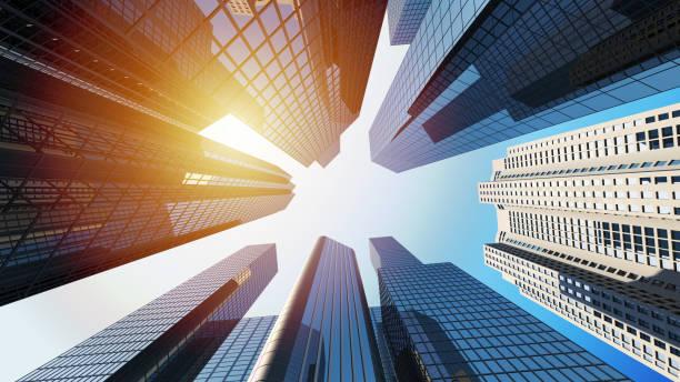 rendição 3d de edifícios corporativos com luz solar - arranha céu - fotografias e filmes do acervo