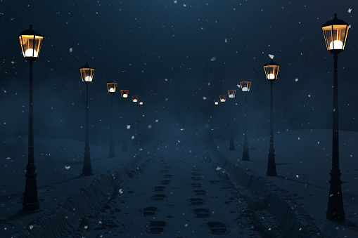 3d rendering of countryside road with snow trails and lantern row at night