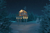3d rendering of cozy hut with glass panels on viewing platform in the woods at night