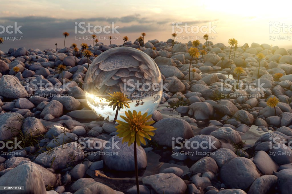 3d rendering of crystal ball on pebble stones in the evening sunlight stock photo