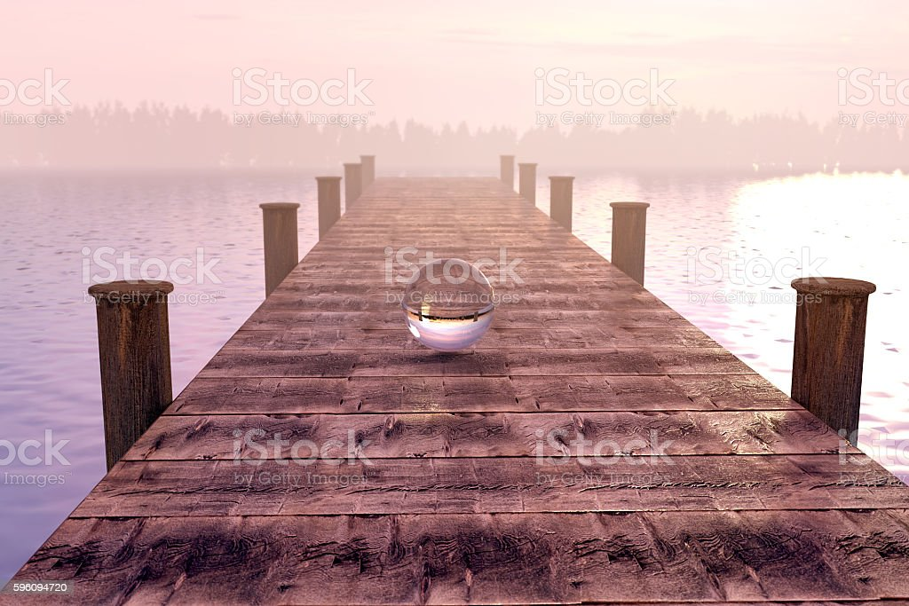 3d rendering of crystal ball on wooden bridge royalty-free stock photo
