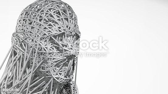 istock 3d rendering of cyborg face on white background represent artificial intelligence. Future science, modern technology concept. 3d illustration 926428150