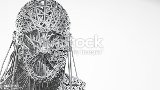 istock 3d rendering of cyborg face on white background represent artificial intelligence. Future science, modern technology concept. 3d illustration 926428158