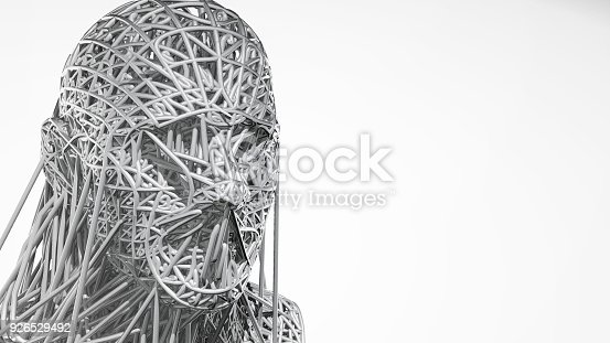 istock 3d rendering of cyborg face on white background represent artificial intelligence. Future science, modern technology concept. 3d illustration 926529492
