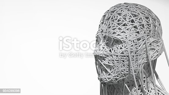 istock 3d rendering of cyborg face on white background represent artificial intelligence. Future science, modern technology concept. 3d illustration 934099098