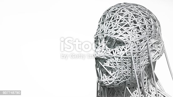 istock 3d rendering of cyborg face on white background represent artificial intelligence. Future science, modern technology concept. 3d illustration 937748790