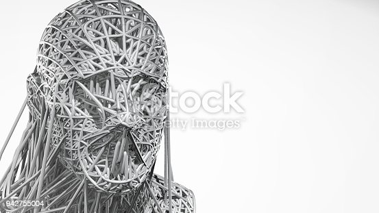 istock 3d rendering of cyborg face on white background represent artificial intelligence. Future science, modern technology concept. 3d illustration 942755004