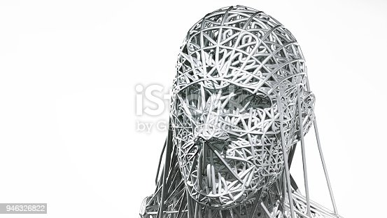 istock 3d rendering of cyborg face on white background represent artificial intelligence. Future science, modern technology concept. 3d illustration 946326822