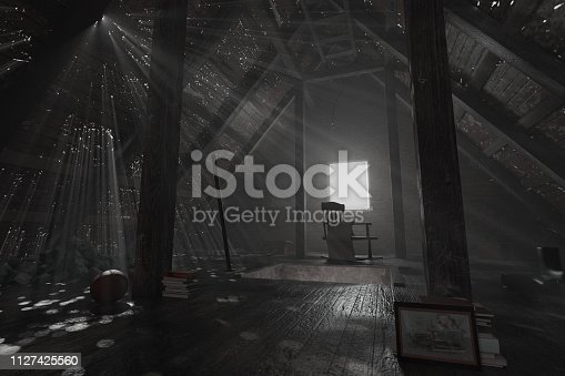 istock 3d rendering of darken empty attic with aged stuff and light rays through holes 1127425560
