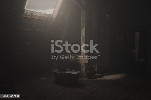 istock 3d rendering of darken empty attic with light ray 688764428