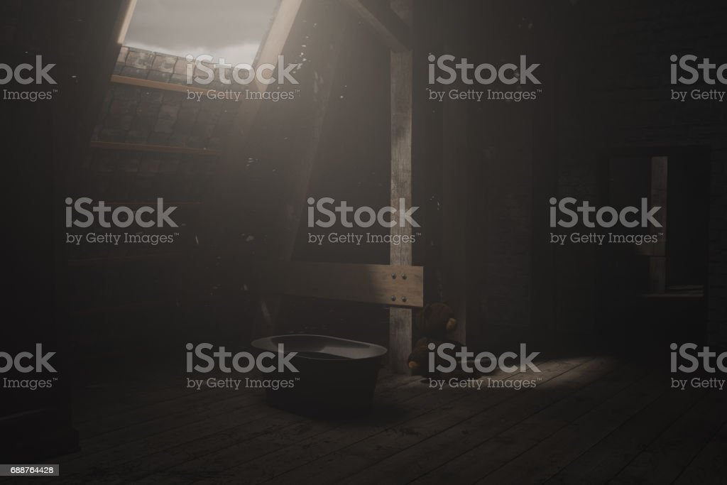 3d rendering of darken empty attic with light ray stock photo