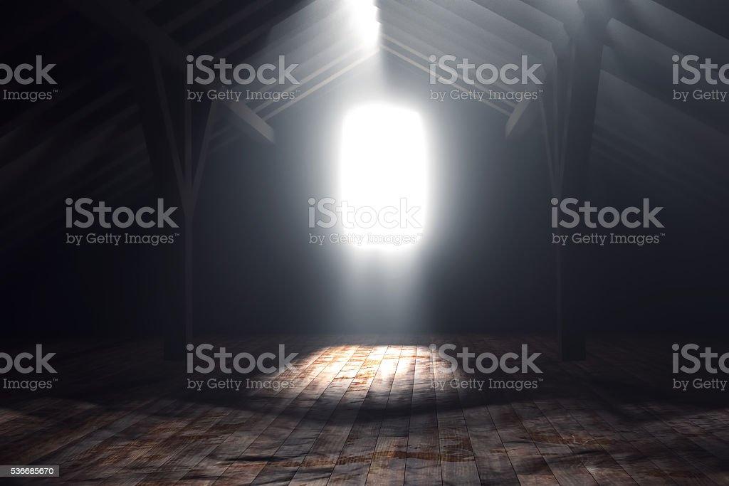 3d rendering of darken empty attic with light rays stock photo