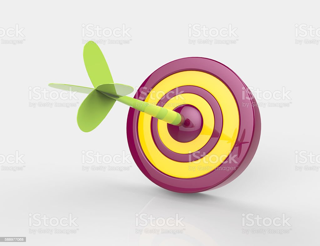 3d rendering of darts hitting the target stock photo
