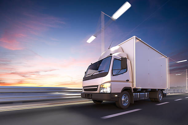 3d rendering of delivery truck on the road at dawn - caminhonete pickup - fotografias e filmes do acervo