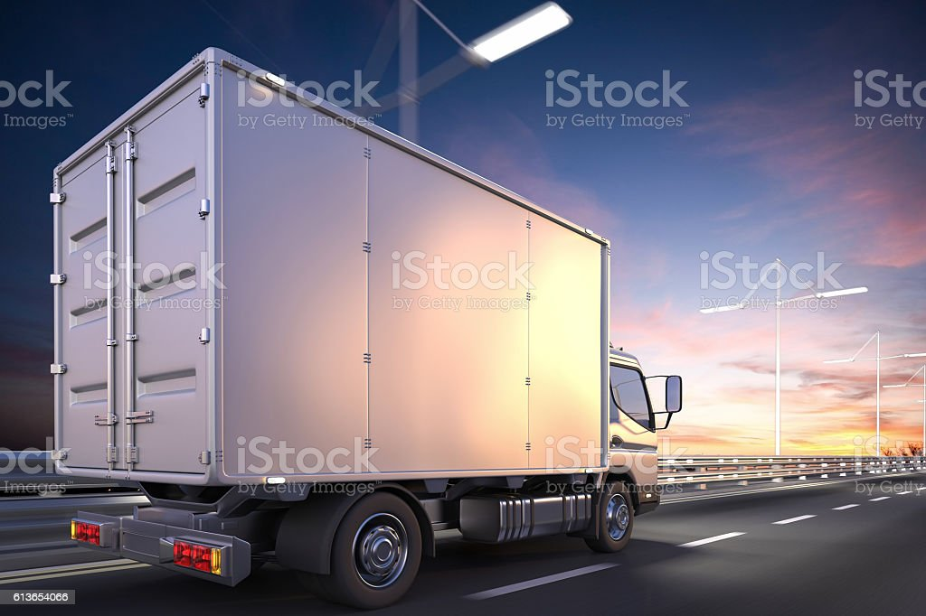 3d rendering of delivery truck on the road at dawn – Foto