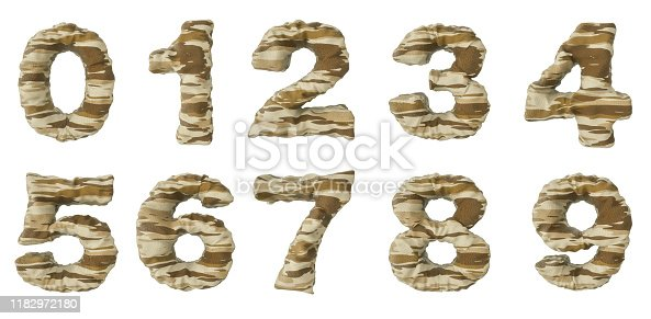 146869841 istock photo 3d rendering of desert camouflage of numbers 1 to 9 1182972180
