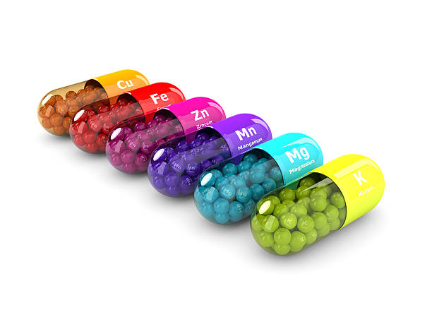 3d rendering of dietary supplements isolated over white - 광물질 뉴스 사진 이미지