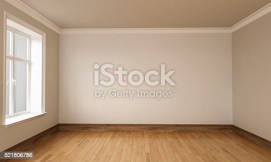 istock 3d rendering of Empty Room Interior White brown Colors 521806786