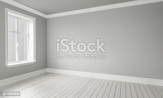 521806786 istock photo 3d rendering of Empty Room Interior White Grey Colors 521805606