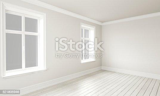 521806786 istock photo 3d rendering of Empty Room Interior White Grey Colors 521805946