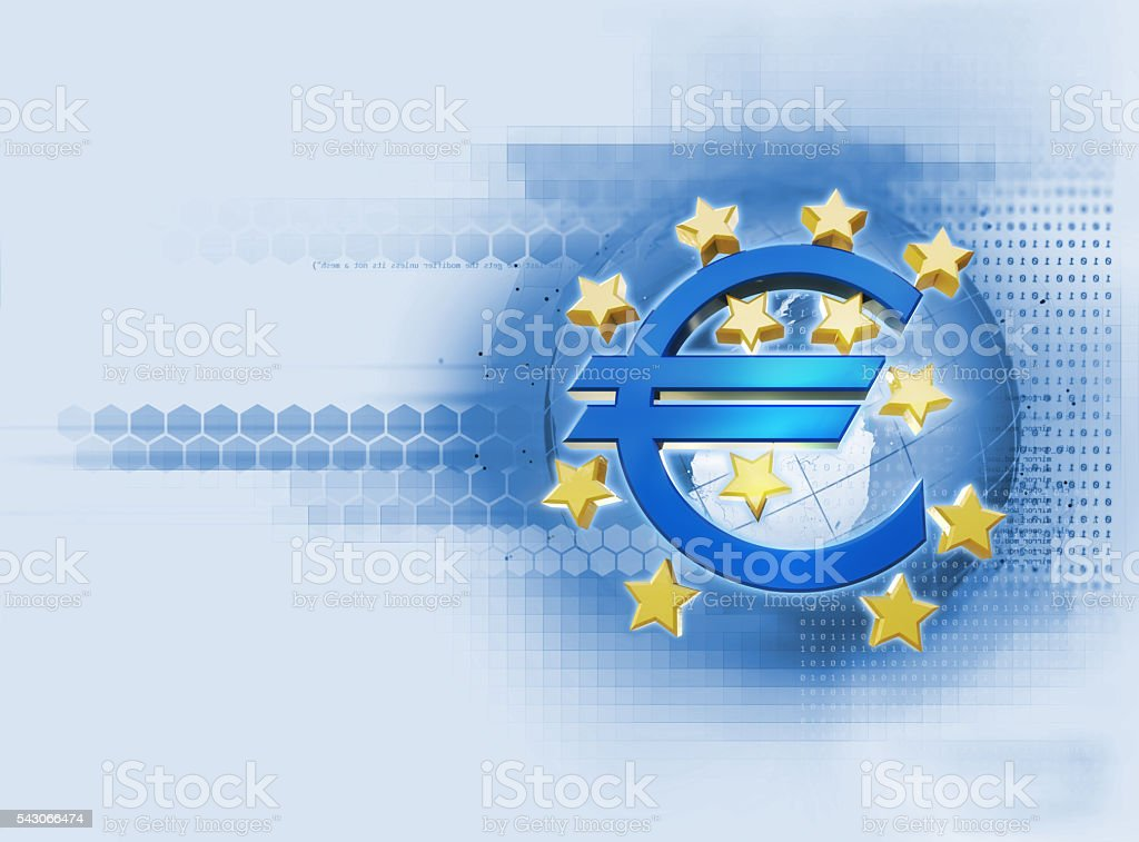 3d rendering of european union sign on technology backg stock photo