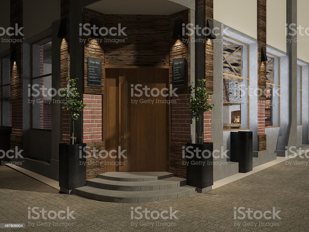3d Rendering Of Facade Of A Restaurant Exterior Design Stock Photo Download Image Now Istock