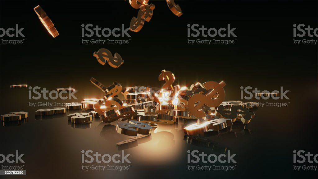 3d rendering of falling signs of dollars. stock photo