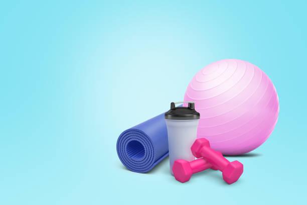 3d rendering of fitball, yoga mat, dumbbells and plastic shaker on blue background