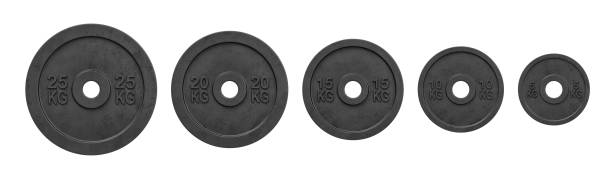 3d rendering of five black barbell weights of different mass hanging in one line on a white background 3d rendering of five black barbell weights of different mass hanging in one line on a white background. Lifting weights. Bodybuilding and sport. Getting fit. weight stock pictures, royalty-free photos & images