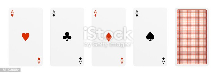 istock 3d rendering of five playing cards, where four of them are different aces, and one card turned over. 874036684