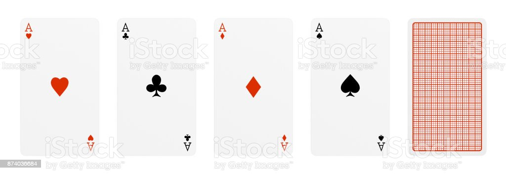 3d rendering of five playing cards, where four of them are different aces, and one card turned over. stock photo