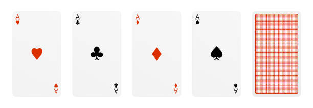 3d rendering of five playing cards, where four of them are different aces, and one card turned over. 3d rendering of five playing cards, where four of them are different aces, and one card turned over. Poker and gambling. Card ranks. Classic card design. playing card stock pictures, royalty-free photos & images