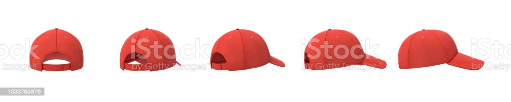 3d rendering of five red baseball caps shown in one line from back to side view on a white background. stock photo