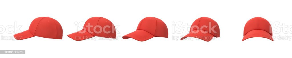 3d rendering of five red baseball caps shown in one line from side to front view on a white background. stock photo