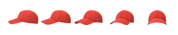 3d rendering of five red baseball caps shown in one line from side to front view on a white background. - czapka zdjęcia i obrazy z banku zdjęć