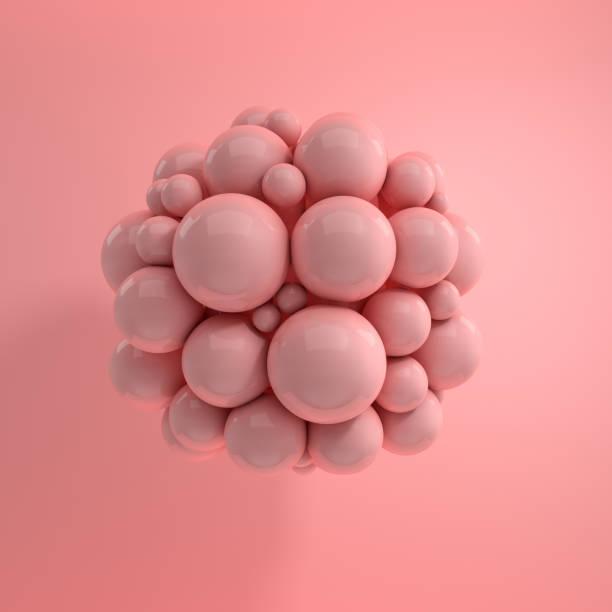 rendu 3D de flottement des sphères polies sur fond rose. Composition géométrique abstraite. Groupe de boules dans des couleurs pastel roses avec ombres douces - Photo