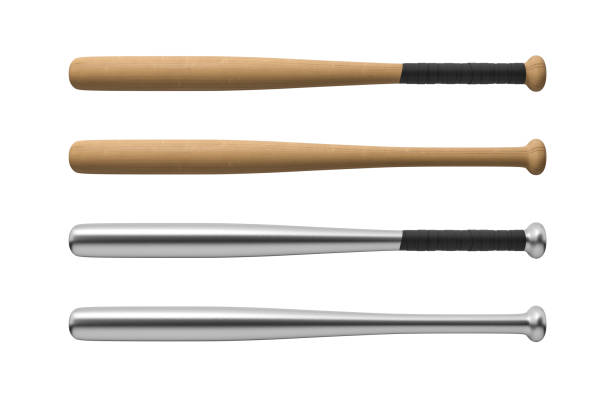 3d rendering of four baseball bats made of wood and steel, with and without handle-wraps in horizontal view stock photo