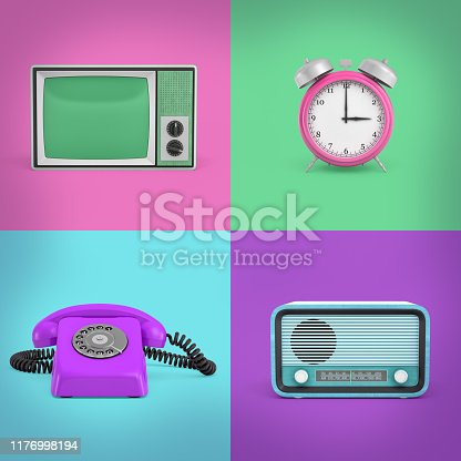 istock 3d rendering of four contrast background squares with a retro phone, a radio, a TV set and an alarm clock. 1176998194