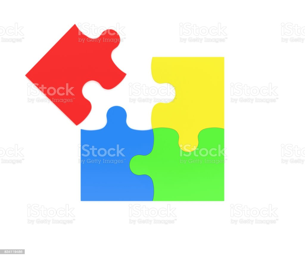 3d rendering of four multicolored puzzle pieces isolated on white background stock photo