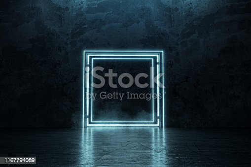 istock 3d rendering of framed lighten square shape on grunge floor 1167794089