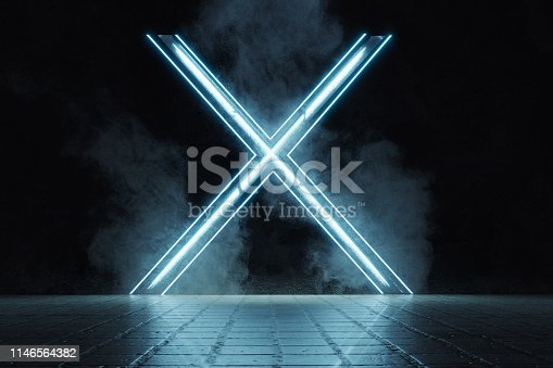 istock 3d rendering of framed lighten X alphabet shape on grunge tiles floor surrounded by smoke 1146564382