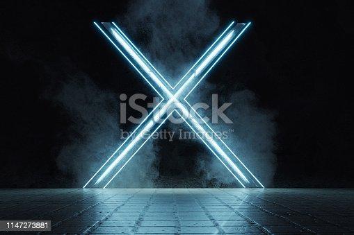 1039536404 istock photo 3d rendering of framed lighten X alphabet shape on grunge tiles floor surrounded by smoke 1147273881
