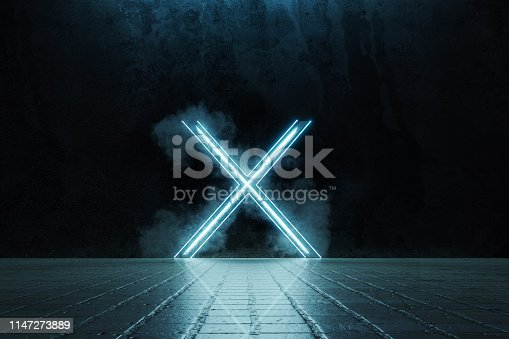 istock 3d rendering of framed lighten X alphabet shape on grunge tiles floor surrounded by smoke 1147273889