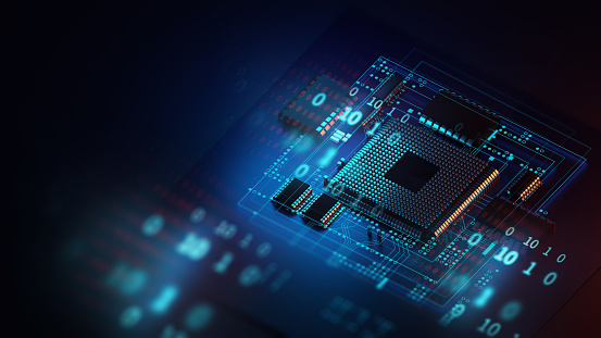 3d rendering  of futuristic pcb pattern  and cpu background illustration