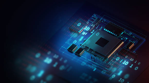3d rendering  of futuristic blue circuit board and cpu stock photo